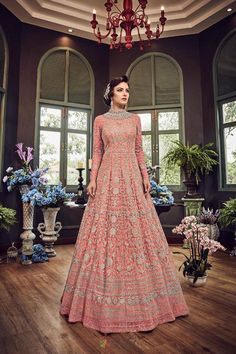 Embroidered Net Abaya Style Suit in Beige Color Bollywood Bridal, Bollywood Fashion, Bollywood Style, Designer Gowns, Designer Wear, Festival Wear, Festival Fashion, Phulkari Saree, Salwar Kameez