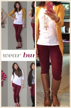 burgundy pants with mustard cardigan Style Casual, Casual Outfits, Cute Outfits, Fashion Outfits, Womens Fashion, Work Outfits, Fashion Scarves, Casual Tops, Fall Winter Outfits