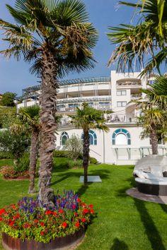 Die Palmen fühlen sich wohl im mediterranen Klima und schmücken den Park mit den Liegemuscheln.