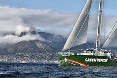 The Greenpeace ship Rainbow Warrior arrives on African shores for the first time in Cape © Trevor Wilkins Alaska, Costa, Hanging Clouds, Warrior Names, Rainbow Warrior, Table Mountain, 10 Year Old, Touring, New Zealand