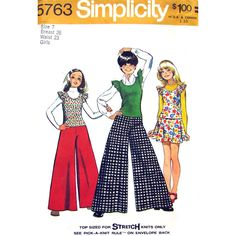 Girls 1970s Top Flip Skirt and Palazzo Pants Pattern Simplicity 5763 Size 7 Vintage Pattern - product images  of