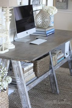 Wood craft table - this could be a DIY project, and depending on finish, the final look can be very different Rustic Desk, Rustic Farmhouse Decor, Rustic Office Desk, Table Desk Office, Rustic Writing Desk, Modern Rustic Office, Rustic Computer Desk, Work Desk, Simple Computer Desk