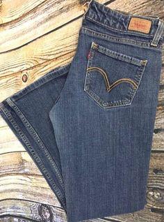 Levis 524 Juniors Sz 9M Too Super Low Rise Blue Jeans Boot Cut Red Tab Denim GUC #Levis #BootCut