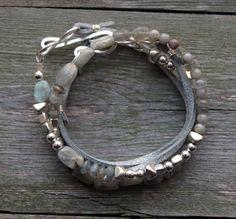 Beaded Leather Wrap Bracelet Silver Labradorite by prairiefunk, $58.00
