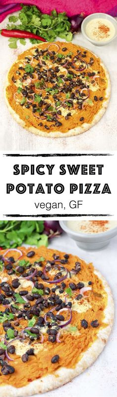 This easy Spicy Sweet Potato Pizza combines fierce spiciness with nutrient-packed sweetness. Mashed sweet potatoes, black beans, hot chili powder, and a homemade #vegan cheese sauce make this the most exciting comfort food.