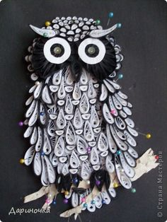 International Craft Patterns, step by step instructions for this quilled owl