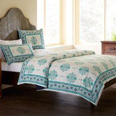 $242 Paisley Block Print Duvet & Shams Bedding Set | VivaTerra