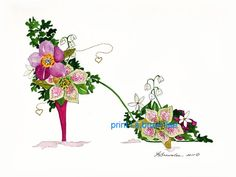 Shoe Print SHIPS FREE - You're a Breath of Fresh Air - Hellebores Flower Shoe 2011 - Enhanced with Watercolor paint and signed Decoupage, Creative Shoes, Ballet Art, Beautiful Sketches, Flower Shoes, Art Impressions, Cute Images, Pretty Pictures, Shoe Art