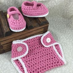 Crochet Booties and Diaper Cover Set Handmade by ForLittlePaws Awesome baby shower gift