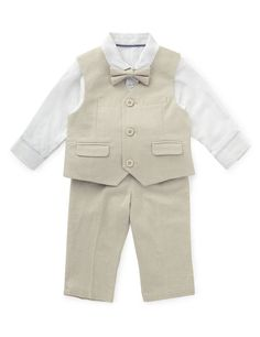 Buy the Linen Blend Christening Waistcoat Outfit from Marks and Spencer's range. Cute Baby Boy Outfits, Toddler Outfits, Kids Outfits, Baby Boy Christening Outfit, Boys Wedding Suits, Baby Boy Suit, Trouser Outfits, Linen Suit, Moda Vintage