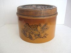 Cheinco Two-Tone Brown Metal Canister Fruit Design