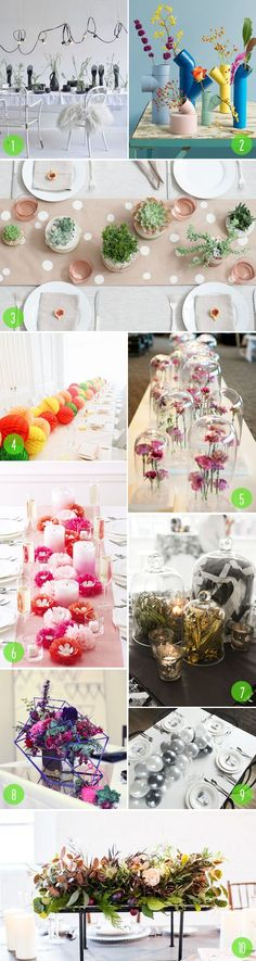 Top 10: Unique centerpieces.  Love these inspiring looks!  Afloral.com has wedding decorations, containers and unique faux flowers for your to recreate these amazing wedding centerpieces.