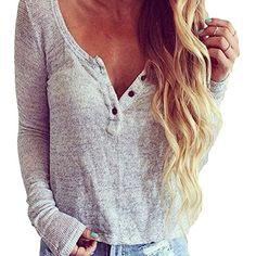 WANGSCANIS Damen V-Ausschnitt Bluse Langarm Sweater Grau