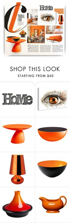 """""""Color Challenge: Orange and Black"""" by alevalepra ❤ liked on Polyvore featuring interior, interiors, interior design, home, home decor, interior decorating, Dot & Bo, NuCasa, E + J and Kartell"""