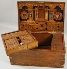Brass Inlaid and Carved Rosewood Veneer Storage Box   Sale Number 2630M, Lot Number 89   Skinner Auctioneers
