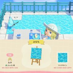 Animal Crossing 3ds, Animal Crossing Villagers, Animal Crossing Qr Codes Clothes, Iphone Design, Pool Outfits, Ac New Leaf, Water Patterns, Floor Patterns, Motifs Animal