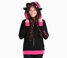Hello Kitty x Hoodsbee Plush Hoodie: Black