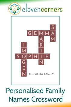 Custom crossword print with interconnected family names. An alternative to scrabble letter crosswords. Unique family gift idea. #elevencorners #familygifts #crosswords #personalisedprint