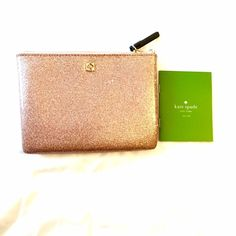 "♠️KATE SPADE♠️Rose Gold Glitter Pouch New without tag attached; still has tissue inside. 5"" H 6.75"" W  1/2"" D kate spade Bags"
