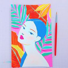 The vibrant gouache paintings are bursting with undeniably good energy! Gouache Painting, Watercolor Paintings, Jungle Art, Tropical Vibes, Face Art, Amazing Art, Art Reference, Book Art, Decoration