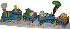 "Animal Train cake to match the party ware ""Sweet 1-Boy"""