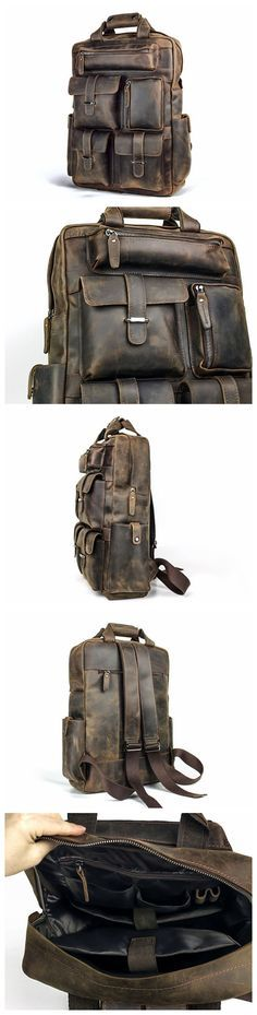 "19""Men Leather Backpack Vintage tote Leather Bag, Laptop backpack School bag, Hipster backpack Messenger bag, Duffel Bag Luggage Travel Gear"