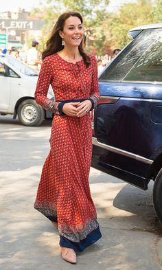 The Duchess of Cambridge chose the affordable Glamorous dress ($71) in red paired with earrings from Accessorize ($16) while continuing her day in Mumbai.