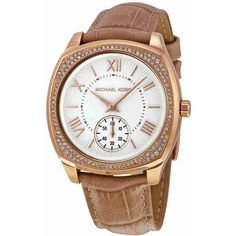 Michael Kors Bryn White Dial Nude Leather Ladies Dress Watch ($139) ❤ liked on Polyvore featuring jewelry, watches, leather watches, leather dress watch, white dial dress watch, dial watches and leather dress watches