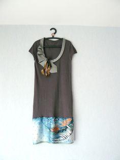 Robe Pull Gris et Bleu,Femme Taille 42,Manches Courtes : Robe par mon-armoire-jolie