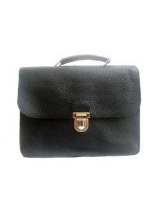 SATCHEL  BRIEFCASE black leather by lesclodettes on Etsy, $65.00