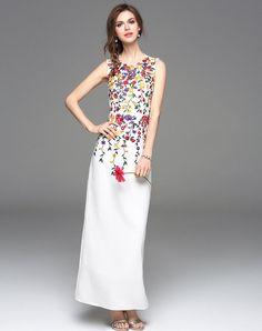 Floral Embroidery Sleeveless Slim Maxi Dress, White, TOO TANG - VIPme
