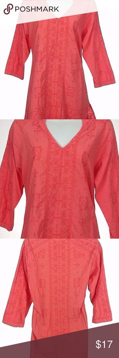 "Coral Cotton 3/4 Slv Embroidered Tunic XCVI women's small coral colored tunic style 3/4 sleeve blouse in great condition.  Product Features: 100% cotton (no stretch) Long, tunic style with a slit at the bottom of each side Solid coral color with embroidery throughout. V-neckline  **Please check measurements**  Measurements (lying flat - across the front):  Chest - 18.5"" Waist - 18.5"" Hem - 21"" Length -  30"" Sleeve - 22.5"" (from end of the neckline) XCVI Tops Tunics"