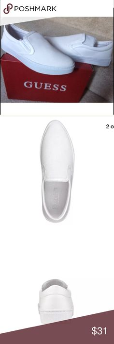 """New GUESS Farilyn Embossed slip on women6.5 Brand new with box Women size 6.5M Ship within one day! ‼️price firm‼️‼️  Look fresh in these sleekFarilyn shoesby GUESS, featuring a python embossed upper in a clean white. •Featured in white  •Slip on casual shoes  •Double gored  •Narrow round closed toe  •Closed back  •1"""" heel  •Fabric lining  •Rubber/leather sole  •Synthetic textured upper  •Imported Guess Shoes Sneakers"""