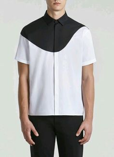 INSPIRATION: love the simple design of this but would prefer a polygonic shape like a hexagon or triangle Man Street Style, Fashion Details, Fashion Design, Fashion Trends, Minimal Fashion, Mode Style, Shirt Style, Casual Shirts, Shirt Designs