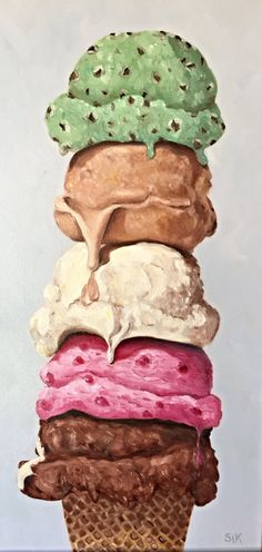 Five Scoops Ice Cream Cone Original Oil by SueKillingsworthArt