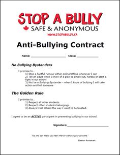Anti-Bullying Contract (fun and interesting idea to make students think twice… Bullying Worksheets, Anti Bullying Activities, Bullying Posters, Bullying Lessons, Bullying Quotes, Counseling Activities, Bullying Facts, Counseling Worksheets, Kids Worksheets