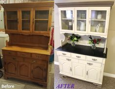 Jill Janine's Hutch - Before and After. White color is a custom mix of Annie Sloan decorative chalk paint in Old Ochre and Old White, Coco Trim (top, bottom, and where hutch meets buffet) with dark wax detailing. Buffet top is stained in Ebony with a graphite trim, also dark waxed. Sealed with clear wax. Inside of drawers in French Linen. Handles finished with Silver gilding paste. #ASCP #morethanpaint - Check my other pins!