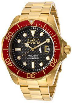 Invicta 14357 Men's Pro Diver Blue Carbon Fiber Dial Gold Steel Bracelet Watch Cool Watches, Watches For Men, Men's Watches, Luxury Watches, Watch Deals, Gold Models, Best Watch Brands, Stainless Steel Watch, Bracelets For Men