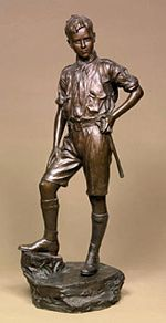 The Boy Scout - Goscombe John executed this bronze in 1910 and it is currently held in the collection of the Amgueddfa Cymru Caerdydd [National Museum of Wales, Cardiff] Accession number: NMW A 126. It was the gift of Lady Webb. This figure was first exhibited at the Royal Academy in 1910and is in fact a portrait of Basil Webb, the only son of Henry Webb, of Llwynarthau, Monmouthshire, a Liberal MP and mining engineer, who was a director of David Davies's Ocean Coal Company.