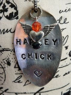 HARLEY CHICK Hand Stamped Vintage Spoon Necklace by bling33, $24.00