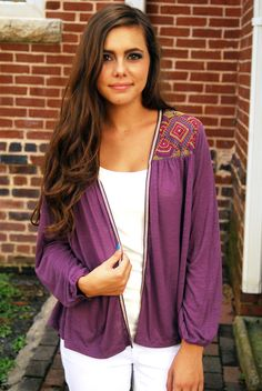Tigerweave Cardigan - Grape from Page 6 Boutique