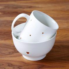 Valentine Mug, Teeny Hearts, Gold