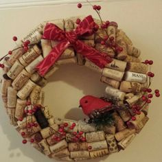 2013 Red Bird Christmas Cork Wreath, Wine Cork Holiday Christmas Wreath #2013 #christmas #wine #cork #wreath www.loveitsomuch.com