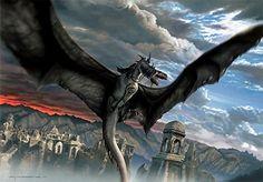 Fellbeast Terror Over Osgiliath Canvas Giclee Art Print @ niftywarehouse.com