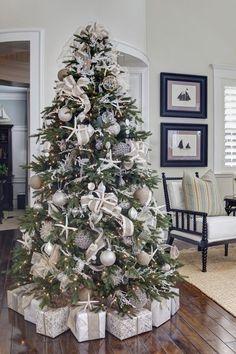 "Beach Christmas tree // ""An Elegant Christmas by the Seaside"" Beach Christmas Trees, White Christmas Tree Decorations, Elegant Christmas Trees, Coastal Christmas Decor, Nautical Christmas, Christmas Tree Design, Noel Christmas, Xmas Trees, Christmas Christmas"