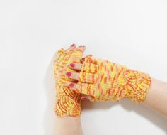 Hand Knitted Fingerless Gloves  Yellow by UnlimitedCraftworks