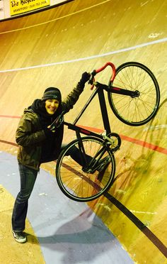 50 degree bank turn at the velodrome. Cycling fast is vital.