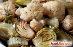 Easy Roasted Winter Vegetables: A simple and delicious side of seasonal vegetables: cauliflower, fennel, Brussels sprouts.   via @SparkPeople #recipe #food #healthy