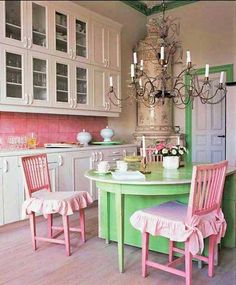 Pink and green and white, with chandelier