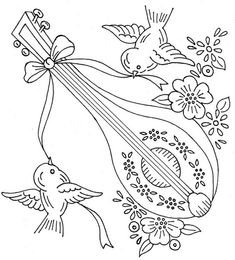 Vintage Embroidery Designs birds and lute vintage redwork design - Unknown manufacturer. Given to me by a very dear friend. Transfers were cut apart in a folder. Embroidery Sampler, Paper Embroidery, Embroidery Transfers, Hand Embroidery Patterns, Vintage Embroidery, Embroidery Applique, Cross Stitch Embroidery, Machine Embroidery, Primitive Snowmen